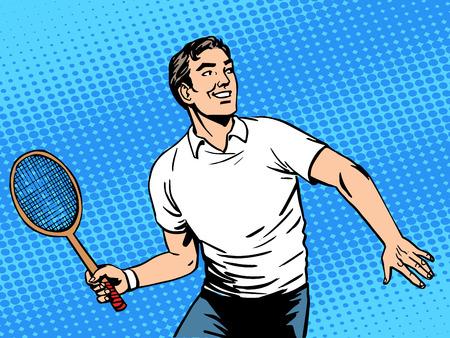 hombre guapo: Hermoso tenis hombre de juego. Belleza de estilo de vida deportiva de salud. Arte pop del estilo retro