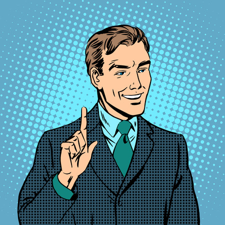 Businessman teacher expert professional retro style pop art Illustration