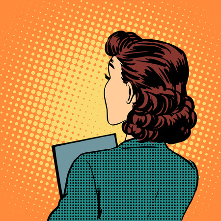 pop art woman: businesswoman back business style pop art retro vintage