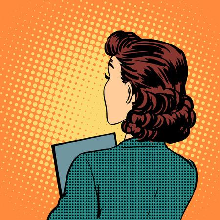 businesswoman back business style pop art retro vintage