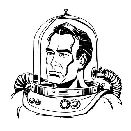 astronaut: Retro astronauta arte en l�nea capit�n h�roe espacial