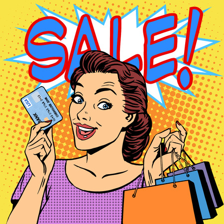 Una venta mujer compras descuentos tarjeta de crédito. Productos tiendas chica comprador estilo retro pop art Ilustración de vector