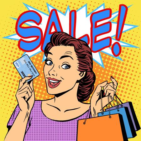 arte moderno: Una venta mujer compras descuentos tarjeta de crédito. Productos tiendas chica comprador estilo retro pop art