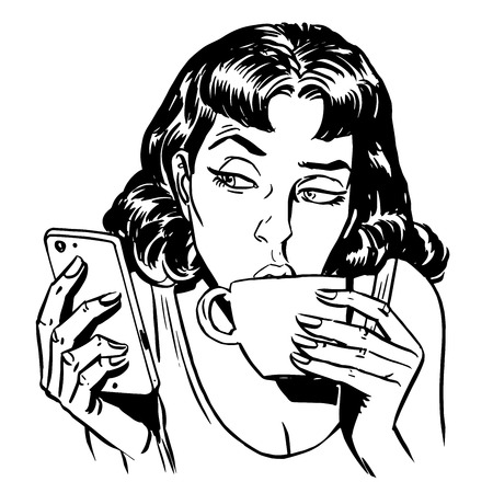 woman girl: Morning girl coffee tea phone news communication technology smartphone line art retro style Illustration