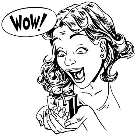 wow: Wow gift girl reaction line art retro style