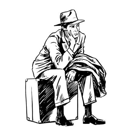 file d attente: Un passager sur un art de la ligne de sac. Sad attente de voyage. Ligne r�tro style d'art Illustration