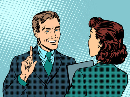 woman boss: Business meeting between boss and subordinate. Retro style pop art Illustration