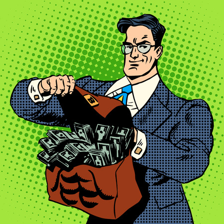 The super businessman to do with a suitcase of money. Business concept Finance income cash. Retro style pop art Stock Illustratie