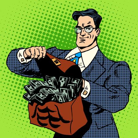 efectivo: El s�per empresario hacer con una maleta de dinero. Concepto de negocio de efectivo Ingresos financieros. Arte pop del estilo retro