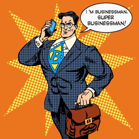 hombre fuerte: el súper hombre de negocios que hacer es responder a una llamada telefónica. Concepto de negocio Finanzas dinero. Arte pop del estilo retro