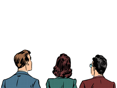 comic: Gente atrás visitantes espectadores oyentes. Hombres de negocios hombres y las mujeres de raza blanca. La primera fila de espectadores. Arte pop del estilo retro