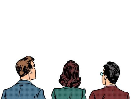 Mensen terug bezoekers kijkers luisteraars. Mannen en vrouwen blanke mensen uit het bedrijfsleven. De eerste rij van de toeschouwers. Retro-stijl pop art Stock Illustratie