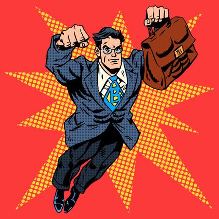 Empresario superhéroe vuelo trabajo concepto de negocio del arte pop de estilo retro. Un hombre adulto en un traje de negocios. La imagen de la valentía y el coraje. Arte pop del estilo retro Ilustración de vector