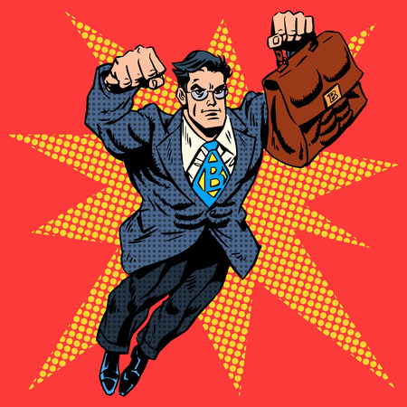 historietas: Empresario superhéroe vuelo trabajo concepto de negocio del arte pop de estilo retro. Un hombre adulto en un traje de negocios. La imagen de la valentía y el coraje. Arte pop del estilo retro