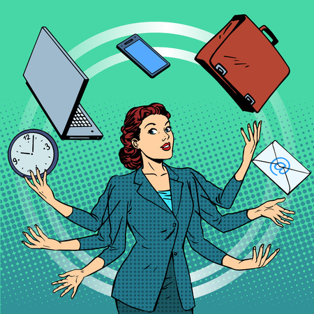 finance manager: Businesswoman many hands business idea time management. Business people in the office. Retro style pop art Illustration