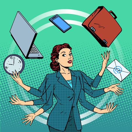 Empresaria muchas manos la gestión del tiempo idea de negocio. La gente de negocios en la oficina. Arte pop del estilo retro