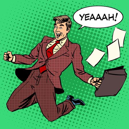 Éxito empresario gritando de alegría. Arte pop del estilo retro. La gente de negocios del comercio exitoso buen trabajador. Blanco del Cáucaso macho