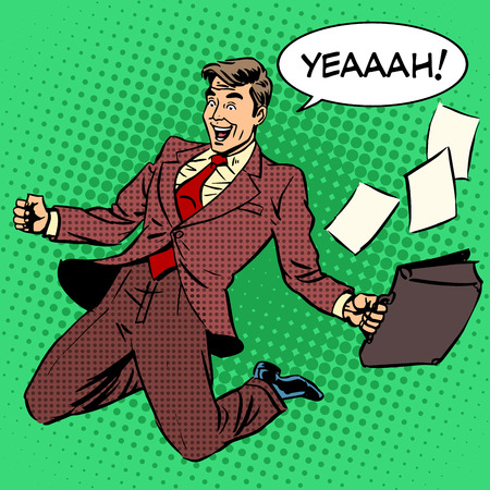 worker cartoon: Business success businessman screaming with joy. Retro style pop art. Business people successful trade good worker. White adult male Caucasian