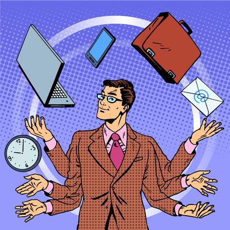 Tiempo: Tiempo empresario gestión adminículos concepto de negocio. Arte pop del estilo retro. Un hombre hace malabares con muchas manos gadgets. Tecnologia computacional