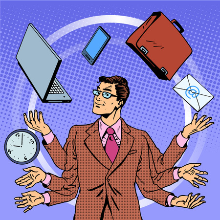 manager: Time management businessman gadgets business concept. Retro style pop art. A man juggles many hands gadgets. Computer technology