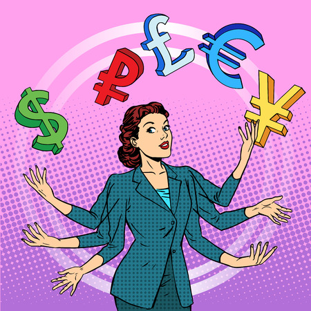 Financial success. Businesswoman juggling money business concept. Currency dollar pound euro yen dollar pound. Pop art retro style