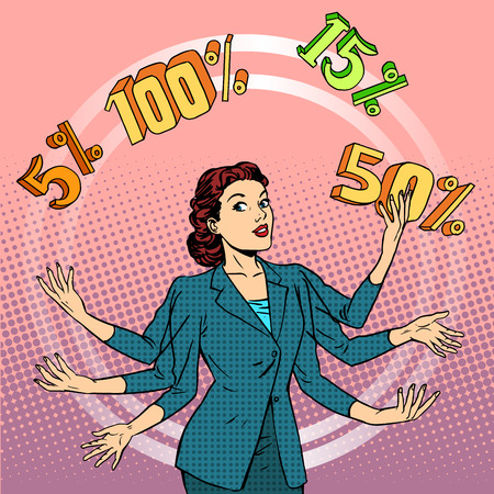 Promotions Rabatte verkaufen. Geschäftsfrau Jonglieren Prozent. Business-Konzept Handel. Pop-Art Retro-Stil Illustration