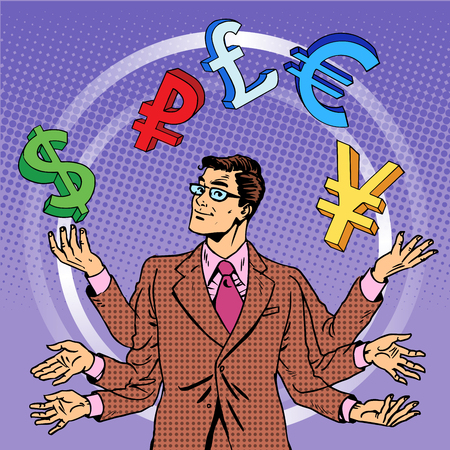 Financial success. Businessman juggling money business concept. Currency dollar pound euro yen dollar pound. Pop art retro style