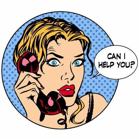 Communicatie telefoon. De vrouw zei dat ik je kan helpen. Bedrijf werken service. Retro-stijl pop-art