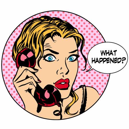 Wat gebeurt er vrouwentelefoon vraag online ondersteuning voor de business concept. Pop art retro-stijl