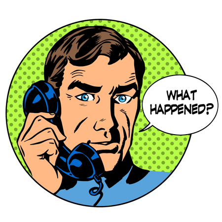 art work: What happened man phone question online support business concept. Pop art retro style