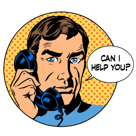 psychologist: Can i help you man phone question online support business concept. Pop art retro style