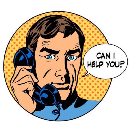 Puedo ayudarle hombre pregunta de teléfono de soporte en línea concepto de negocio. El arte pop de estilo retro Foto de archivo - 44608622