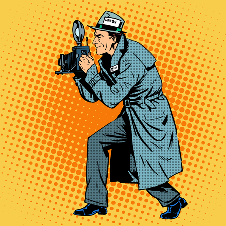 Photographer paparazzi at work press media camera. Reporter takes on the camera. Pop art retro style Illustration