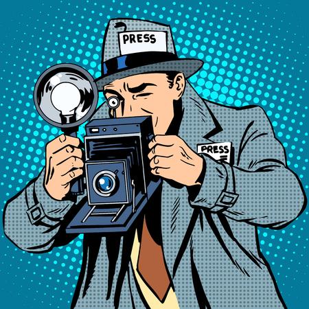 reportero: El fotógrafo paparazzi en prensa el trabajo de cámara medios de comunicación. El arte pop de estilo retro Vectores