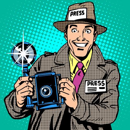 Fotograf paparazzi na prasowej pracy mediów kamery. Reporter uśmiecha. Pop-art w stylu retro