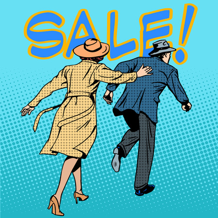 family running sale retro style pop art. The husband and wife are rushing to the store. Business concept discounts and buy