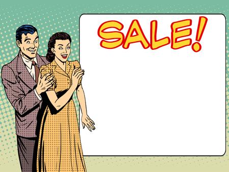 marido y mujer: marido, esposa, familia anunciar la venta. El hombre y la mujer anuncian descuentos. Concepto del asunto precios de los servicios de mercanc�as. Arte pop del estilo retro