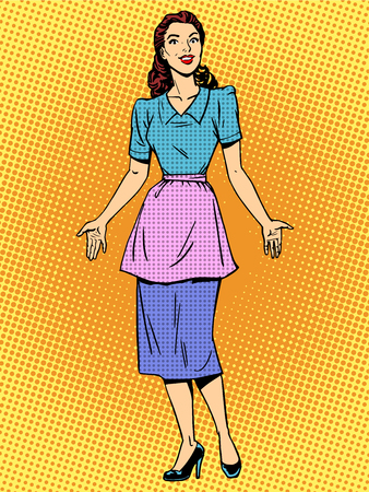 Friendly housewife beautiful woman retro style pop art. Young girl in casual clothes encounters. Wife or mother