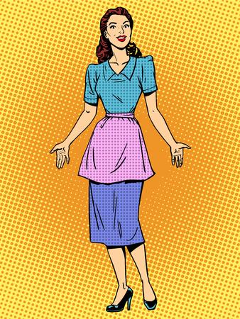 Vriendelijke huisvrouw mooie vrouw retro stijl pop art. Jong meisje in casual kleding ontmoet. Vrouw of moeder Stock Illustratie