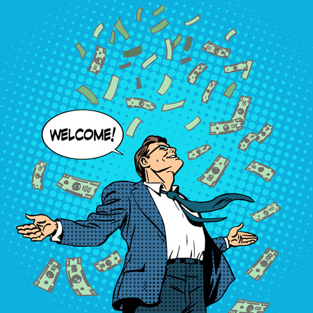 bienvenidos: El concepto de negocio de exitoso hombre de negocios en el dinero rueda en. Beneficio riqueza Finanzas. Arte pop del estilo retro