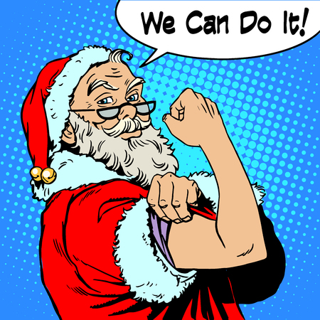 Santa Claus we can do it the power of protest Christmas New year. Fairy tale character in festive costume. Retro style pop art