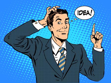 kunst: Kreative Geschäftsleuten von einer Geschäftsidee. Der Mann bei der Arbeit. Retro-Stil Pop-Art- Illustration