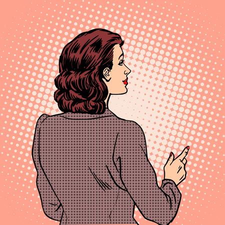 point: Woman autumn clothes back retro style pop art Illustration