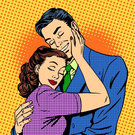 romanticismo: Coppia in amore che abbraccia marito moglie pop retrò arte storia d'amore