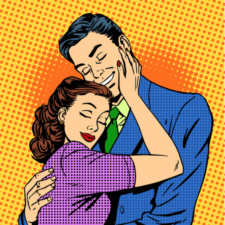 couple embrace: Couple in love hugging husband wife retro pop art love romance Illustration