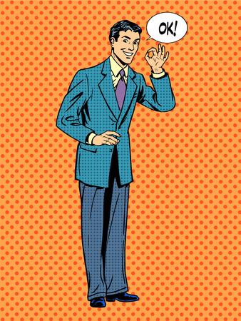 ok: Man businessman says okay business concept success. Retro style pop art