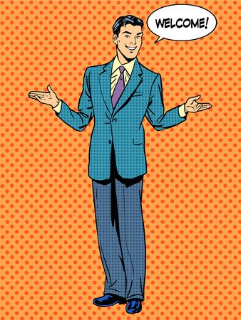 El hombre de negocios de bienvenida concepto de negocio. El arte pop de estilo retro
