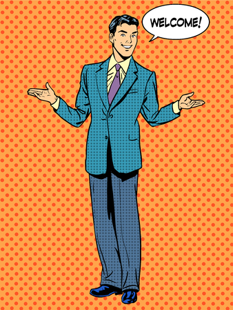 Man zakenman welkom business concept. Pop art retro-stijl Stock Illustratie