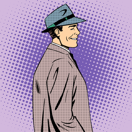 clothes cartoon: man coat hat retro style pop art