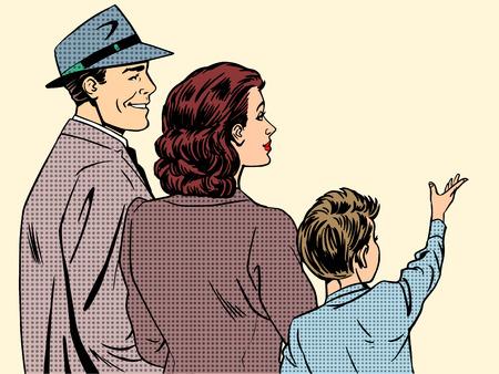 가족 엄마 아빠와 아들 복고 스타일의 팝 아트. 사람들은 뒤로 꿈꾸는 소년 그의 손을 위로 올려 프로필에 서있다. 가족, 사랑 및 관리의 개념